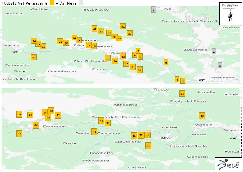 mappatura falesie Val Pennavaire