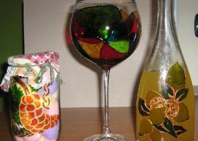 Decorazioni su vetro con piombo liquido